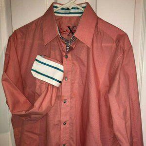 Robert Graham Men's Pink Salmon Patterned Button